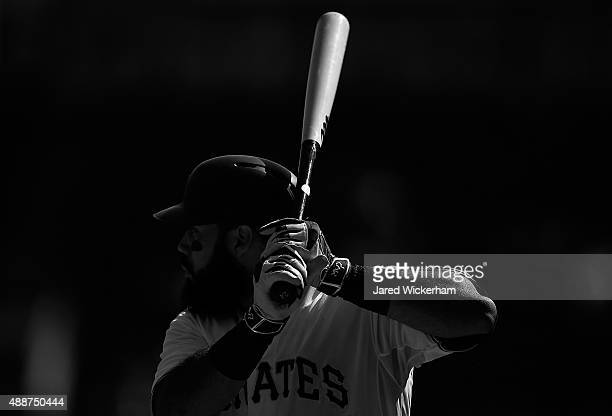 Pedro Alvarez of the Pittsburgh Pirates in action against the Chicago Cubs during game one of a doubleheader at PNC Park on September 15 2015 in...