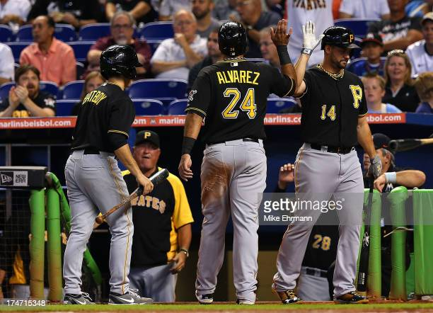 Pedro Alvarez of the Pittsburgh Pirates is congratulated by Gaby Sanchez after scoring on an RBI double by Russell Martin during a game against the...