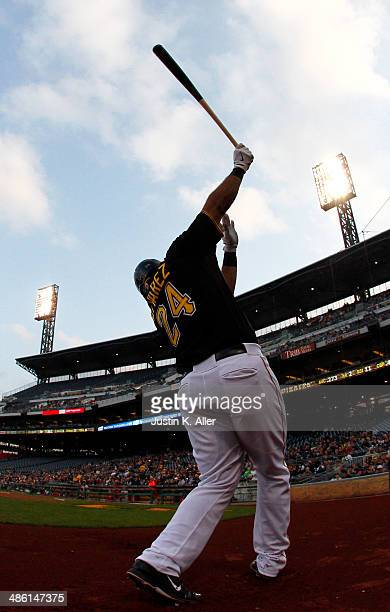Pedro Alvarez of the Pittsburgh Pirates on deck against the Cincinnati Reds during the game at PNC Park April 22 2014 in Pittsburgh Pennsylvania
