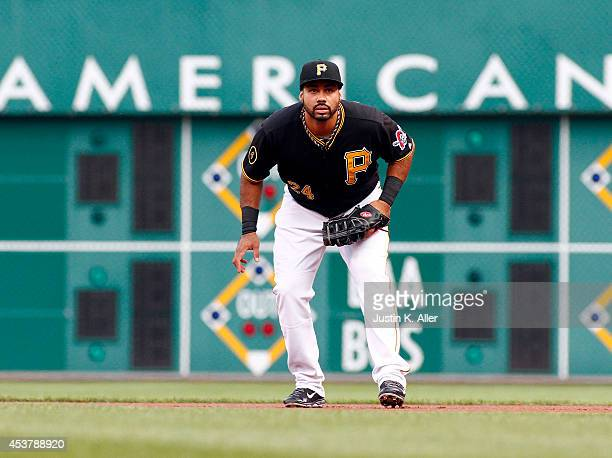 Pedro Alvarez of the Pittsburgh Pirates plays first base in the first inning against the Atlanta Braves during the game at PNC Park on August 18 2014...