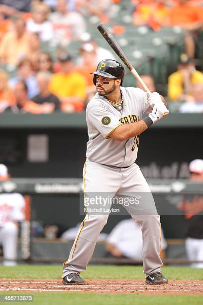 Pedro Alvarez of the Pittsburgh Pirates prepares for a pitch during a baseball game against the Baltimore Orioles in game one of a doubleheader on...