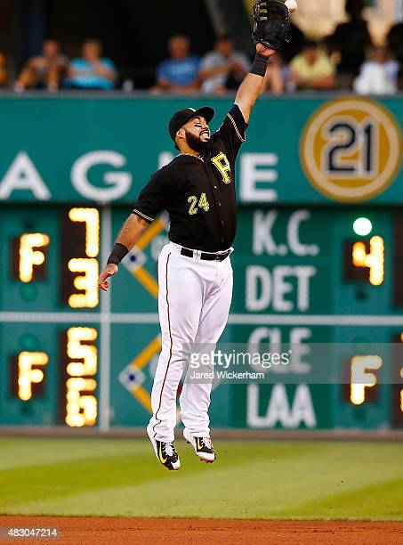 Pedro Alvarez of the Pittsburgh Pirates reaches for a line drive at first base against the Chicago Cubs during the game at PNC Park on August 5 2015...