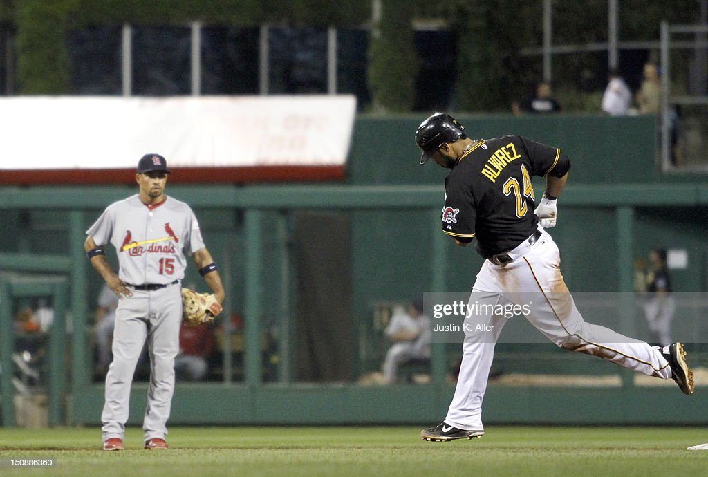 Pedro Alvarez #24 of the Pittsburgh Pirates rounds second after hitting a solo home run in the sixth inning against the St. Louis Cardinals during the game on August 28, 2012 at PNC Park in Pittsburgh, Pennsylvania.