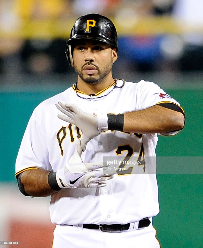 Pedro Alvarez #24 of the Pittsburgh Pirates signals the bench after hitting a double against the Cincinnati Reds on September 29, 2012 at PNC Park in Pittsburgh, Pennsylvania.