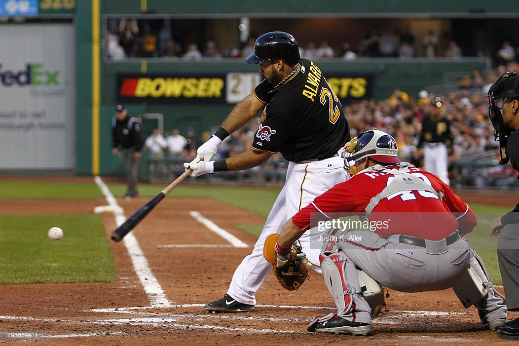 Pedro Alvarez #24 of the Pittsburgh Pirates strikes out in the fourth inning against the Washington Nationals during the game at PNC Park May 24, 2014 in Pittsburgh, Pennsylvania.