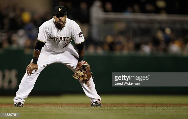 Pedro Alvarez of the Pittsburgh Pirates waits for the pitch while standing at third base against the St Louis Cardinals during the game on April 21...