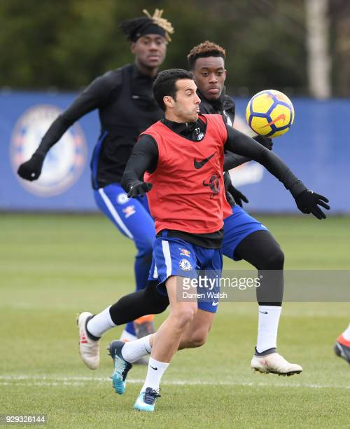 Pedro and Callum HudsonOdoi of Chelsea during a training session at Chelsea Training Ground on March 8 2018 in Cobham England