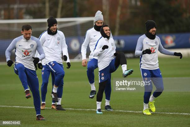 Pedro and Cesc Fabregas of Chelsea during a training session at Chelsea Training Ground on December 29, 2017 in Cobham, England.