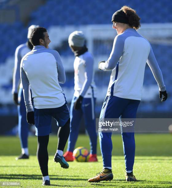 Pedro and David Luiz of Chelsea during a training session at Stamford Bridge on November 17 2017 in London England