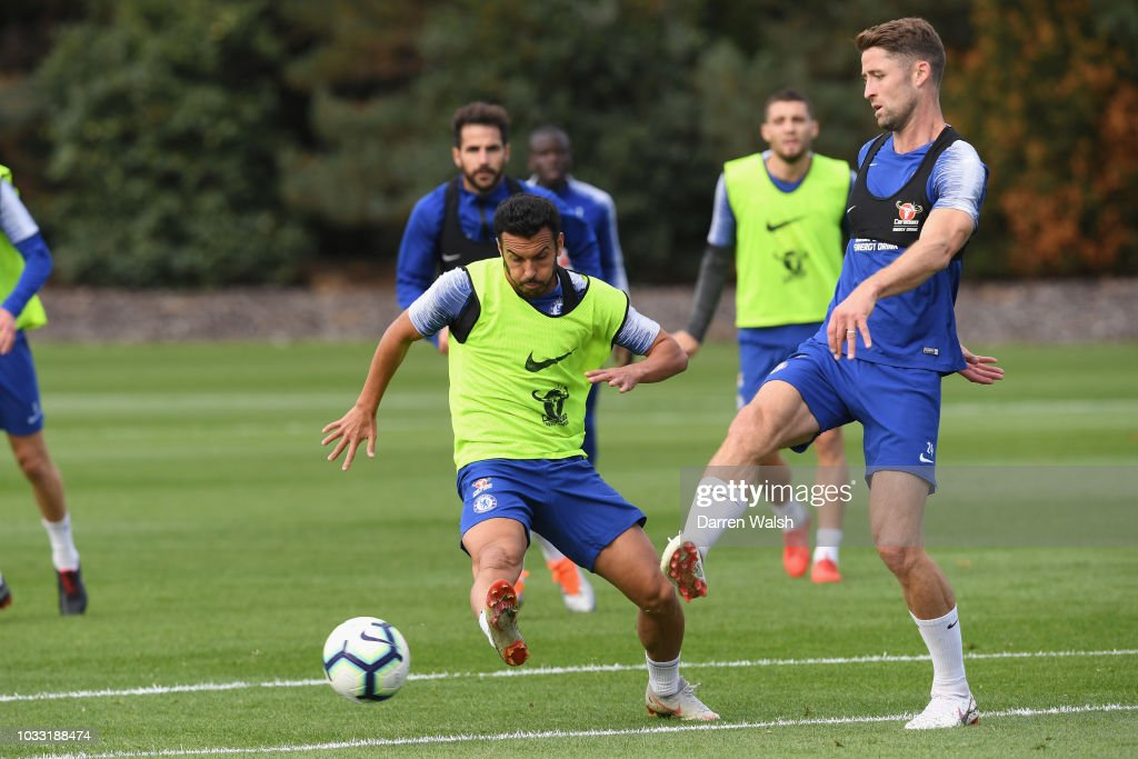 Pedro and Gary Cahill of Chelsea during a training session at Chelsea Training Ground on September 14, 2018 in Cobham, England.