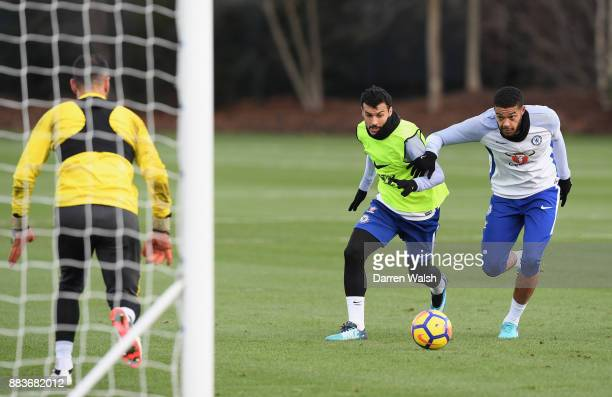 Pedro and Jake ClarkeSalter of Chelsea during a training session at Chelsea Training Ground on December 1 2017 in Cobham England
