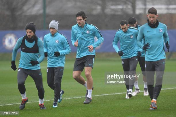 Pedro and Marcos Alonso of Chelsea during a training session at Chelsea Training Ground on February 19 2018 in Cobham England