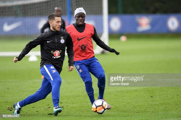 Pedro and N'Golo Kante of Chelsea during a training session at Chelsea Training Ground on March 16 2018 in Cobham United Kingdom