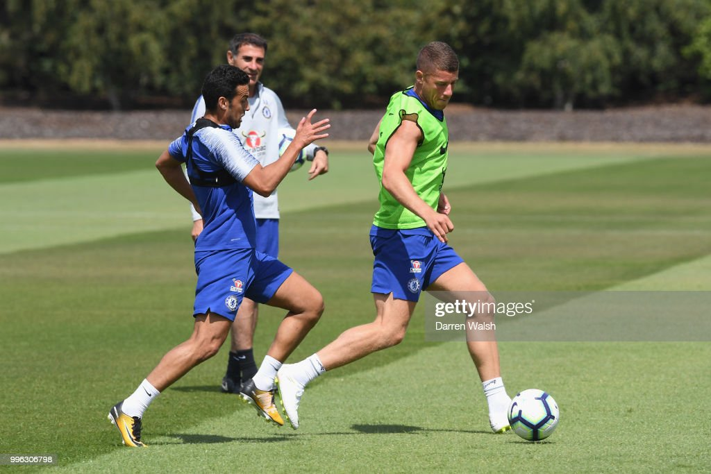 Pedro and Ross Barkley of Chelsea during a training session at Chelsea Training Ground on July 11, 2018 in Cobham, England.