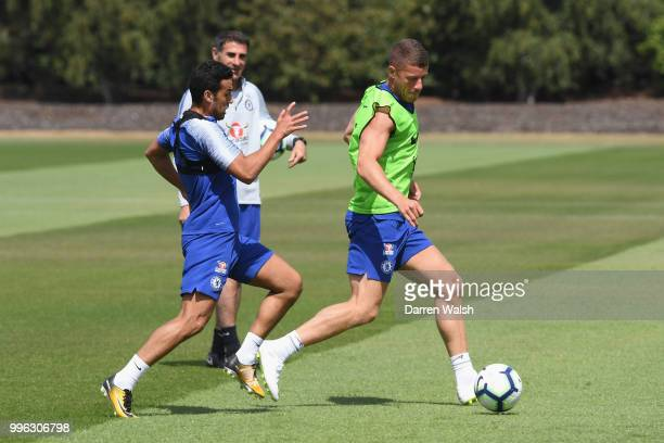 Pedro and Ross Barkley of Chelsea during a training session at Chelsea Training Ground on July 11 2018 in Cobham England