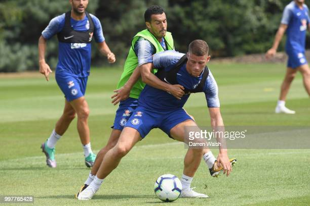 Pedro and Ross Barkley of Chelsea during a training session at Chelsea Training Ground on July 13 2018 in Cobham England
