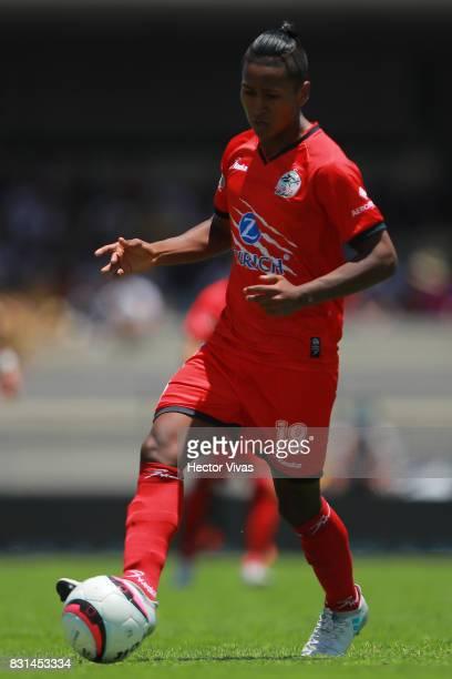 Pedro Aquino of Lobos BUAP drives the ball during the fourth round match between Pumas UNAM and Lobos BUAP as part of the Torneo Apertura 2017 Liga...