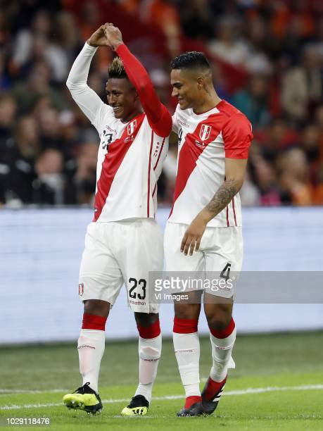 Pedro Aquino of Peru Anderson Santamaria of Peru during the International friendly match match between The Netherlands and Peru at the Johan Cruijff...