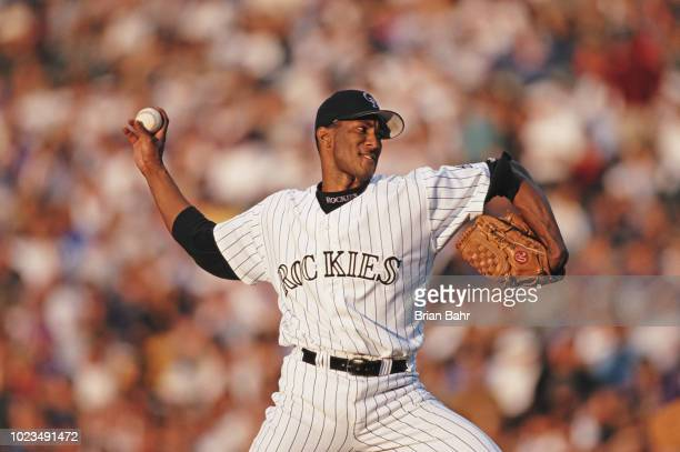 Pedro Astacio pitches for the Colorado Rockies against the Chicago Cubs during their Major League Baseball National League West game on 23 June 1999...