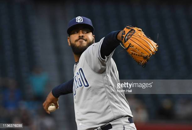 Pedro Avila of the San Diego Padres delivers a first inning pitch against the Arizona Diamondbacks at Chase Field on April 11 2019 in Phoenix Arizona...