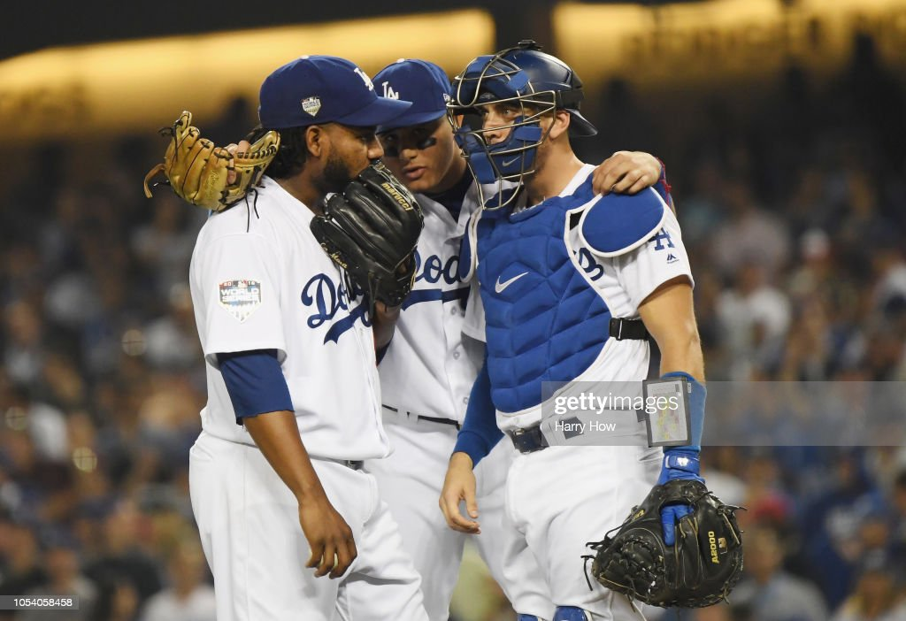 new concept 505a5 1a7f8 Pedro Baez of the Los Angeles Dodgers receives a mound visit ...