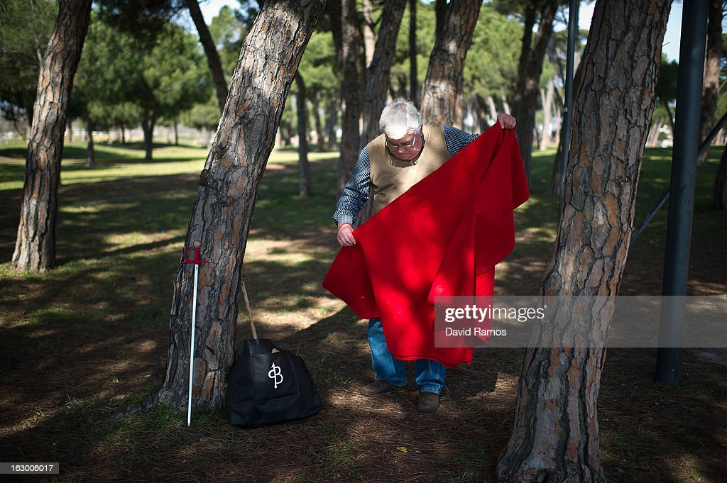Pedro Beltran, 66, folds his red cape after practicing bullfighting in a city park in Santa Perpetua de la Mogoda on March 3, 2013 in Barcelona, Spain. On February 12 the Spanish Parliament accepted a petition from bullfight supporters asking for the sport to become a key part of the Spain's cultural heritage. The petition, of 590,000 signatures, has been promoted by the Federation of Bullfighting Entities of Catalonia. The last bullfight in Catalonia was held in September 25, 2011.