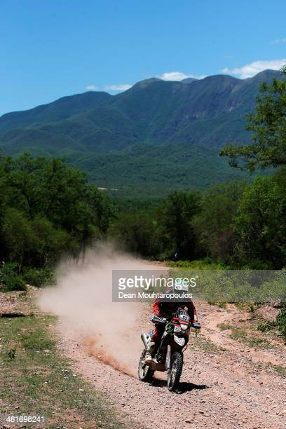 Pedro Bianchi Prata of Portugal for Husqvarna Team Bianchi Prata Kia Vodafone competes during Day 6 of the 2014 Dakar Rally on January 10 2014 near...