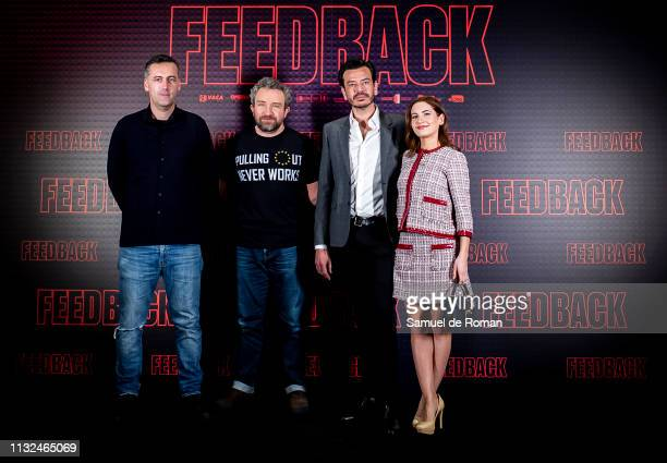 Pedro C Alonso Eddie Marsan and Ivana Baquero attend 'Feedback' Madrid Photocall on February 27 2019 in Madrid Spain