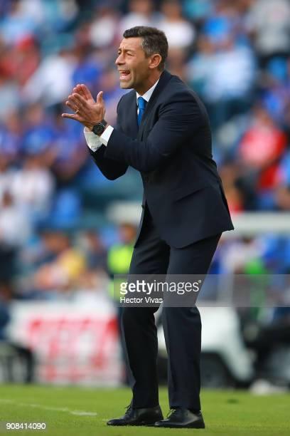 Pedro Caixinha Coach of Cruz Azul gestures during the 3rd round match between Cruz Azul and Leon as part of the Torneo Clausura 2018 Liga MX at Azul...