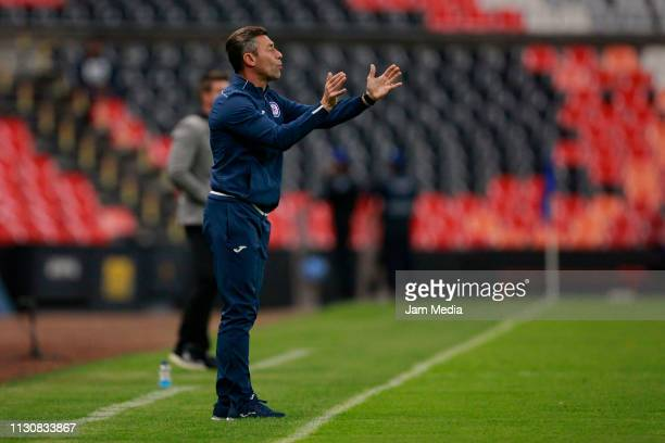 Pedro Caixinha Coach of Cruz Azul gives instructions during a match between Cruz Azul and Alebrijes as part of the Copa MX Clausura 2019 at Azteca...