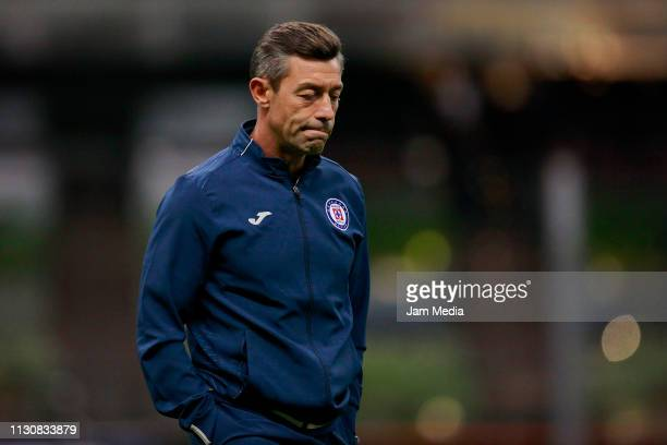 Pedro Caixinha Coach of Cruz Azul lament during a match between Cruz Azul and Alebrijes as part of the Copa MX Clausura 2019 at Azteca Stadium on...