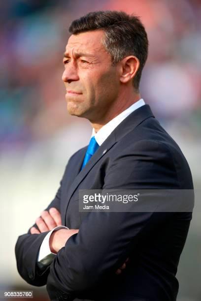 Pedro Caixinha coach of Cruz Azul looks on during the 3rd round match between Cruz Azul and Leon as part of the Torneo Clausura 2018 Liga MX at Azul...