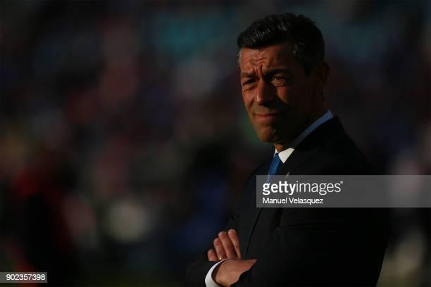 Pedro Caixinha coach of Cruz Azul looks on during the first round match between Cruz Azul and Tijuana as part of the Torneo Clausura 2018 Liga MX at...