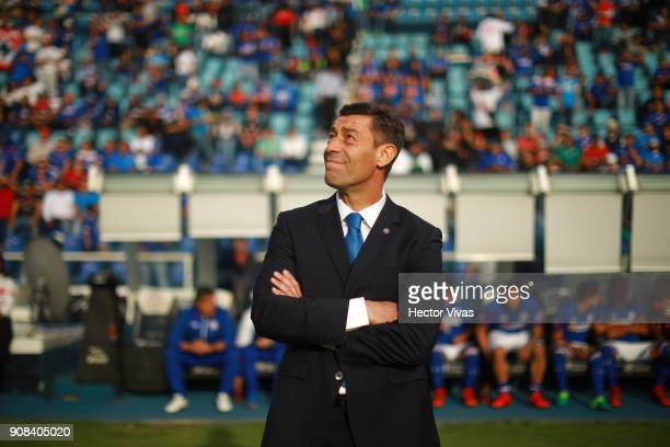 Pedro Caixinha Coach of Cruz Azul looks on prior the 3rd round match between Cruz Azul and Leon as part of the Torneo Clausura 2018 Liga MX at Azul...