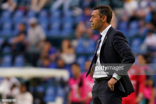Pedro Caixinha coach of Cruz Azul react during the 10th round match between Cruz Azul and Queretaro as part of the Torneo Clausura 2018 Liga MX at...