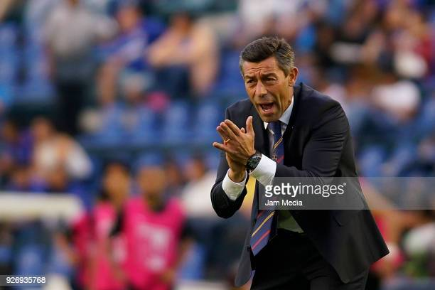 Pedro Caixinha coach of Cruz Azul react during the 10th round match between Cruz Azul and Queretaro as part of the Torneo Clausura 2018 Liga MX at...