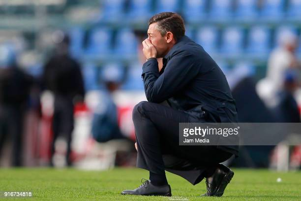 Pedro Caixinha coach of Cruz Azul reacts during the 6th round match between Cruz Azul and Necaxa as part of the Torneo Clausura 2018 Liga MX at Azul...
