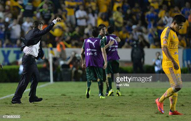 Pedro Caixinha coach of Santos celebrates after a quarterfinal second leg match between Tigres UANL and Santos Laguna as part of Clausura 2015 Liga...