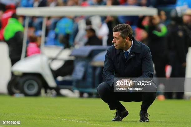 Pedro Caixinha head coach of Cruz Azul gestures during the 6th round match between Cruz Azul and Necaxa as part of the Torneo Clausura 2018 Liga MX...