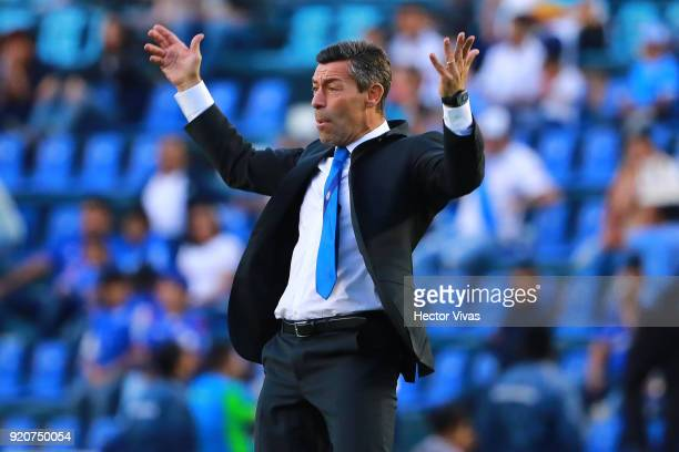 Pedro Caixinha Head Coach of Cruz Azul reacts during the 8th round match between Cruz Azul and Puebla as part of the Torneo Clausura 2018 Liga MX at...