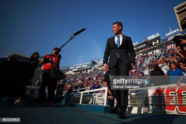 Pedro Caixinha head coach of Cruz Azul smiles as he enters the field during the first round match between Cruz Azul and Tijuana as part of the Torneo...