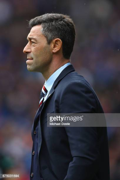 Pedro Caixinha manager of Rangers during the Ladbrokes Scottish Premiership match between Rangers and Celtic at Ibrox Stadium on April 29 2017 in...
