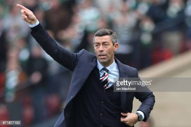 Pedro Caixinha manager of Rangers gestures during the Scottish Cup SemiFinal match between Celtic and Rangers at Hampden Park on April 23 2017 in...