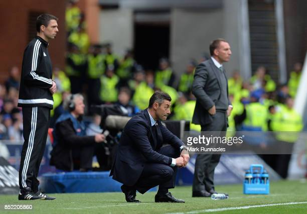 Pedro Caixinha Manager of Rangers looks on during the Ladbrokes Scottish Premiership match between Rangers and Celtic at Ibrox Stadium on September...