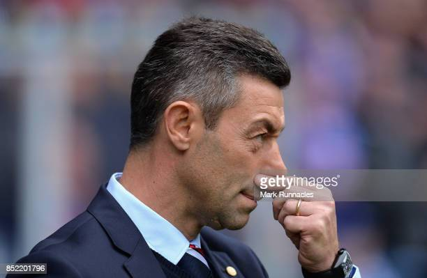Pedro Caixinha Manager of Rangers looks on prior to the Ladbrokes Scottish Premiership match between Rangers and Celtic at Ibrox Stadium on September...