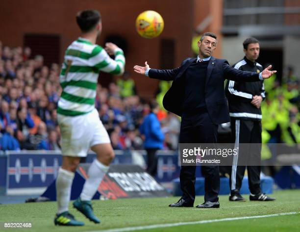 Pedro Caixinha Manager of Rangers reacts during the Ladbrokes Scottish Premiership match between Rangers and Celtic at Ibrox Stadium on September 23...