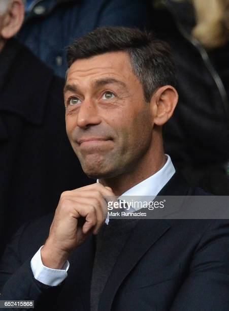 Pedro Caixinha Newly appointed manager of Rangers is seen in the stand prior to the Ladbrokes Scottish Premiership match between Celtic and Rangers...