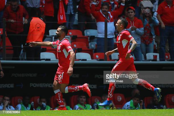 Pedro Canelo of Toluca celebrates after scoring the 4th goal of his team during the 13th round match between Toluca and Monterrey as part of the...