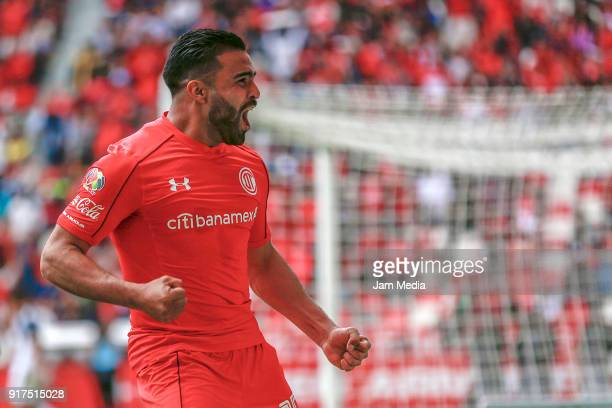 Pedro Canelo of Toluca celebrates after scoring the first goal of his team during the 6th round match between Toluca and Monterrey as part of the...