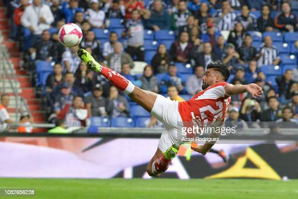 Pedro Canelo of Toluca deviates the ball during the 13th round match between Monterrey and Toluca as part of the Torneo Apertura 2018 Liga MX at BBVA...